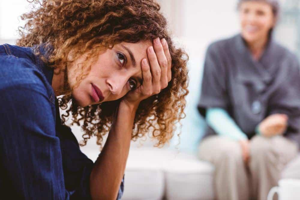 photo of a woman upset who has trauma